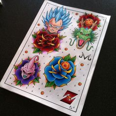 Dragon Ball Z Tattoo Flash Sheet 2 by Hamdoggz.deviantart.com on @DeviantArt