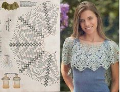 Collar Crochet Patterns - Beautiful Crochet Patterns and Knitting Patterns crochet cape with chart I wish the pattern was clearer. Col Crochet, Crochet Collar, Crochet Diagram, Crochet Blouse, Crochet Chart, Crochet Scarves, Crochet Clothes, Crochet Stitches, Crochet Gratis