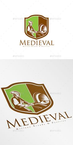 Medieval Artisan Breads Logo Design Template Vector #logotype Download it here: http://graphicriver.net/item/medieval-artisan-breads-logo/9008629?s_rank=721?ref=nesto
