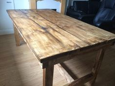 Hand made wooden farm house style dining table and bench For Sale in Worcester, Worcestershire