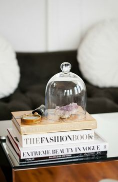 coffee table styling - belljar cloche