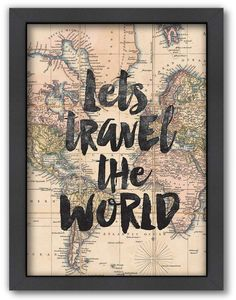 Americanflat ''Lets Travel the World'' Framed Wall Art Travel Home Decor Travel Room Decor, Travel Bedroom, Travel Wall Art, Map Wall Art, World Travel Decor, Vintage Travel Decor, Travel Gallery Wall, Frames On Wall, Framed Wall