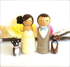 Custom Wedding Cake Toppers Bride and Groom with 2 Pets Large Personalized Wood Peg Dolls Peggies Dog Cat Animals Cute CreativeButterflyXOX. $78.00, via Etsy.