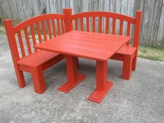 red corner bench table for kids made out of an old cot