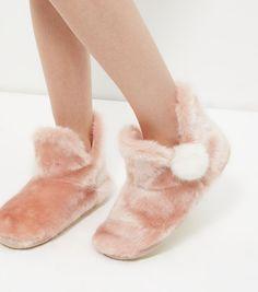 Pink Faux Fur Pom Pom Slipper Boots | New Look