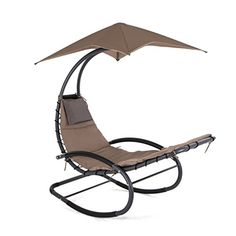 Patio Rocking Wave Lounger Chair Portable Recliner Pool Chaise with Sun Shade