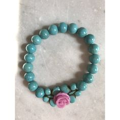turquoise bracelet with flower, unique bridesmaid, summer wedding,... (13 AUD) ❤ liked on Polyvore featuring jewelry, bracelets, blue turquoise jewelry, beads jewellery, flower jewellery, beaded jewelry and flower jewelry