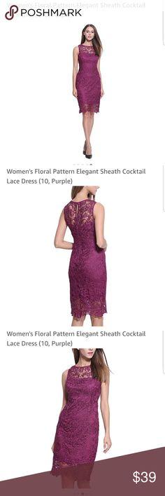 Women's Lace Sheath Dress Purple floral print lace sheath dress Dresses Midi