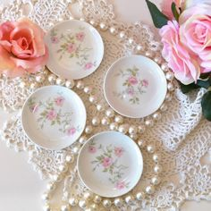 Set of 4 Limoge Spoon Rest. Vintage China, Vintage Tea, Coffee Spoon, Pearl And Lace, Classic House, Rose Design, Spoon Rest, Cottage Style, Coasters