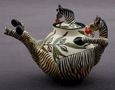 Zebra Tea pot by Ardmore Ceramics - South African Design.