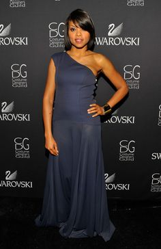 Taraji P. Henson Evening Dress - Taraji wears a simple-chic one-shoulder evening gown in a muted blue hue at the Costume Designers Guild Awards.