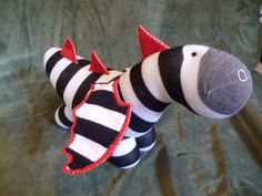 Black & White Sock Dragon Peter RESERVED LISTING by infinit3j3st