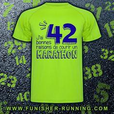 """On a tous une bonne raison de courir mais force est de constater qu'il n'y a pas moins de """"42 bonnes raisons de courir un #marathon"""" ! ➪ T-Shirt Homme http://urlc.fr/M45OVr et Femme http://urlc.fr/3khY5n"""