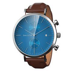 208a3a2f8bc4 June   Ed Cuarzo Acero Inoxidable Correa Reloj de pulsera para Hombre con  la ventana del