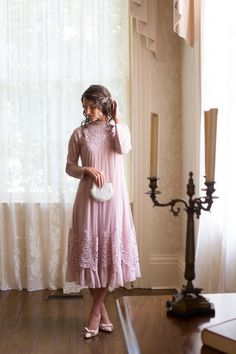 Gorgeous modest formal dress for special occasions. English Vicotorian Lace Dress in blush pink. Modest fashion, bridesmaids dresses, ruffles, lace.
