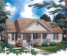 Plan W69260AM: Country Home Plan with Large Porch
