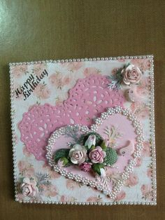 Flowers from dusty attic. Pearl trim local. 2.00 shop leg heart die cut smaller heart from a template