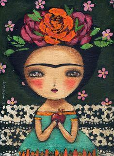 Frida and the burning heart, Art Prints by Danita Art