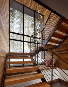 Modern staircase design ideas - surf inspiring images of modern stairs. Rustic Staircase, Wood Stairs, House Stairs, Stair Railing, Staircase Design, Railings, Staircase Ideas, Stairs Window, Wood Walls