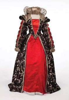 "Florence Eldridge ""Elizabeth Tudor"" black, red and silver period gown by  Walter Plunkett 51f019d329f9"