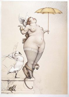 Rain by Michael Parkes. I absolutely adore Michael Parkes, and this one just puts him a little higher on my favorite artist list! Illustrations, Illustration Art, Julie Bell, Plus Size Art, Magic Realism, Magritte, Cultura Pop, Renoir, Love Art