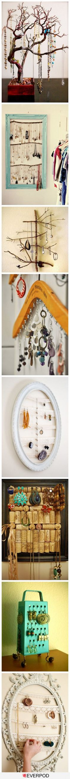 I like the hanger one - paint hanger, attach hooks for long necklaces