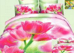 Elegancka zielona pościel z bawełny w różowe tulipany