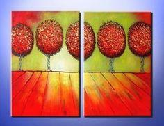 obrazový set, moderné obrazy, obrazy do interiéru, maľované obrazy, červená, zelená