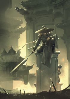ArtStation - Come?hit you!, Gao Haotong Fantasy Concept Art, Dark Fantasy Art, Town Drawing, Ninja Wallpaper, Samurai Artwork, Japanese Artwork, Dark Pictures, L5r, Beautiful Fantasy Art