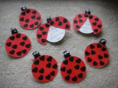 Made the Ladybug Valentines for my toddler's preschool class. Didn't have enough googly eyes, so drew them on paper; didn't have black tissue paper, so used electrical tape! (Taped them onto cards instead of glue)
