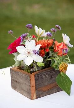 Wildflowers in Wooden Box Centerpieces | Budget Brides Guide : A ...