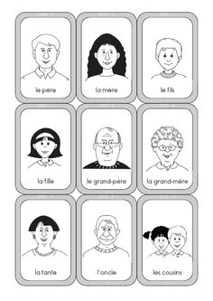 Jeu de 7 familles a colorier - Votre image id-3 sur DouePourOser.com Core French, French Class, French Language Lessons, French Lessons, Speech Therapy Games, French Phrases, School Clipart, French Immersion, Teaching French