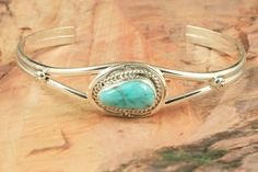 Turquoise Jewelry  Genuine Blue Ridge Turquoise set in Sterling Silver Bracelet. Created by Navajo Artist Ganadonegro. http://www.treasuresofthesouthwest.com/turquoise-jewelry.html