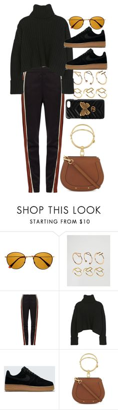 """""""Untitled #11116"""" by nikka-phillips ❤ liked on Polyvore featuring Retrò, ASOS, Wales Bonner, NIKE, Chloé and Gucci"""