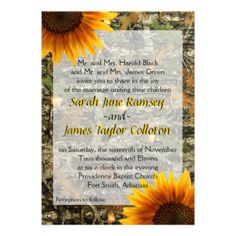 Camo & Sunflower Wedding Invitation