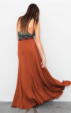 Cute maxi skirt swishes around ... dress up or down in this rustdirt shade from Riller & Fount