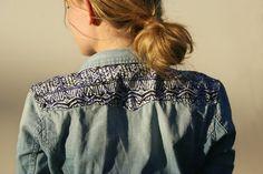 DIY tribal print denim shirt