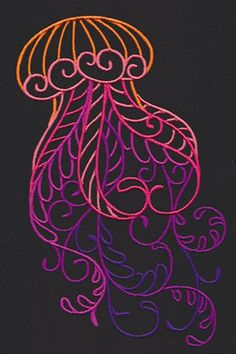 Towel measures approximately: 16x28 inches! Image provided courtesy of Urban Threads (www.urbanthreads.com) This design measures: 4.37w x 6.85h Do you like this design? You can order more than 1 towel!!! I can also embroider it on just about anything!! This listing is for a flour sack hand towel, Hand Embroidery Designs, Diy Embroidery, Cross Stitch Embroidery, Embroidery Patterns, Machine Embroidery, Jellyfish Light, Pink Jellyfish, Jellyfish Tentacles, Medusa