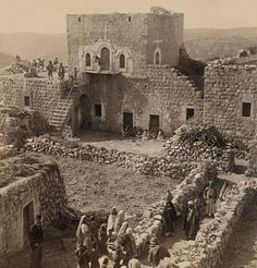 Ramallah - رام الله : A Palestinian home in Ramallah with its guest-chamber, the large upper room - 1900 Palestine History, Israel Palestine, Israel History, Old Pictures, Old Photos, Naher Osten, Ottoman, The Beautiful Country, Arab World