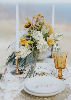 Fall Mountain Wedding Table Design with Yellow and white Rustic fall mountain wedding with golden fall foliage table landscape, yellow floral centerpiece design Fall Mountain Wedding, Fall Wedding, Our Wedding, Mountain Elopement, Wedding Flower Arrangements, Floral Centerpieces, Wedding Bouquets, Mustard Yellow Wedding, Mustard Wedding Theme