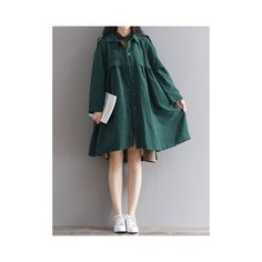 Women Long Sleeve Lapel A-Line Pure Color Loose Trench Coat (€33) ❤ liked on Polyvore featuring outerwear, coats, dark green, leather-sleeve coats, long lapel coat, dark green coat, trench coat and a line trench coat