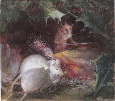 John Anster Fitzgerald (British, ca. 1819-1906). A Christmas Fairy. Watercolor on paper.