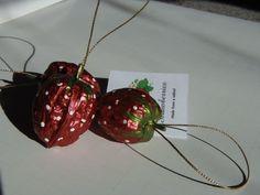 Strawberry Christmas ornament Metallic by BonnetsBagsTreasures, $6.00