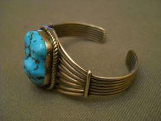 "Turquoise Cabochon Sterling Silver Bracelet 1 1 4"" w 38 Grams | eBay"