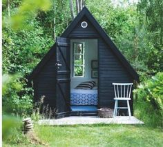 A tiny guest room A-frame