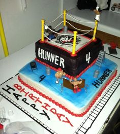 Wrestling Cake WWE wrestling cake for my son. Had to put this one together in a hurry!