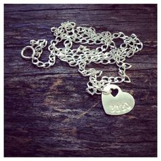 Sterling Silver Heart Initial Custom Name Necklace  by cocowagner