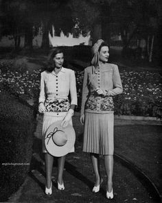 Magnin & Co 1942 Peep toe shoes, knee length skirts, pleats, and fitted sleeves were all in fashion in the 1940's.