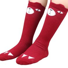 Ladies//Girls Dark Red With Small Grey Elephants Cotton Ankle Socks