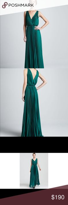 Halston Dark Emerald Pleated Dress This is brand new with tags! Got it for the Oscars but ended up going with a different option. Super expensive and high quality. Retailed for $495 plus tax/shipping which was total of around $540. Literally never been worn or taken out of the original plastic wrapping. It's a beautiful dress and honestly a steal!   Their sizes run big so a size 0 is more like a 2/4ish... Halston Heritage Dresses